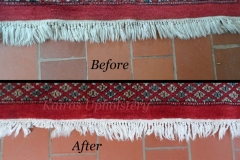 Persian rug fringe cleaning before and after